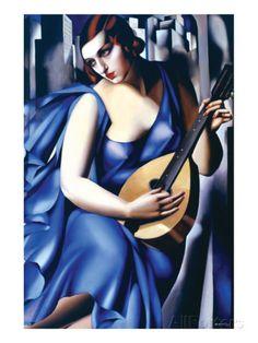 Femme en Bleu Avec Guitare - Tamara de Lempicka