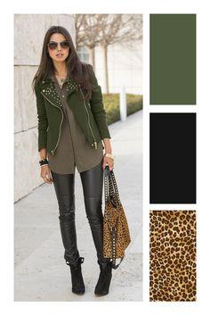 Cómo combinar el color verde militar #TiZKKAmoda #chaqueta #verde #militar #blusa #pantalón #negro #botas #bolsa #animalprint Colour Combinations Fashion, Color Combinations For Clothes, Fashion Colours, Colorful Fashion, New Outfits, Fall Outfits, Casual Outfits, Fashion Outfits, Wardrobe Color Guide