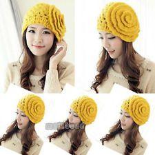Women Ladies Flower Hollow Out Crochet Knitted Ski Beanie Wool Hat Cap Yellow