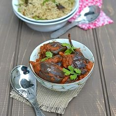 Shahi Baingan (Eggplant in Spicy tomato-almond sauce) by Cook's Hideout