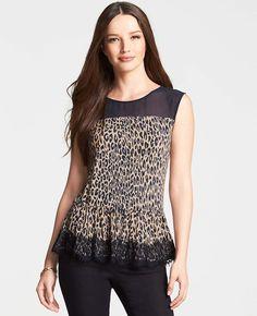 Leopard Print Lace Peplum Top
