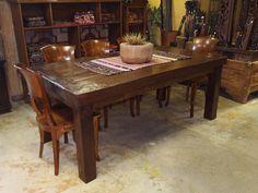 Massive Top Rustic Dining Table & Teak Chairs from Gado Gado.