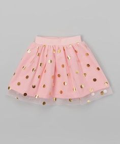 Look at this Caught Ya Lookin' Pink & Gold Dot Overlay Gathered Skirt - Infant on today!Another great find on Pink & Gold Dot Overlay Gathered Skirt - Infant & Toddler Make a pink tutu and add gold paint dots for pink/gold bday Fashion Kids, Baby Girl Fashion, Toddler Fashion, Toddler Outfits, Fashion Clothes, Tutus For Girls, Little Girl Dresses, Girls Dresses, Outfits Niños
