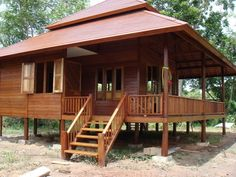 Photos Of Beautiful Wooden House Structure Design Modern Wooden House, Wooden House Design, Bamboo House Design, Wooden Houses, Bahay Kubo Design, House Structure Design, Exterior Design, Interior And Exterior, Village House Design