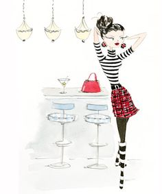 Bar Girl, by Anne Keenan Higgins Illustration Girl, Watercolor Illustration, Girl Illustrations, Rorschach Art, Penny Black Stamps, Art Sketchbook, Watercolor Print, Cute Drawings, Retro