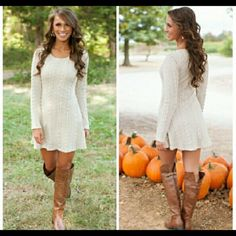 Beautiful Long Sleeve White Sweater Dress Ladies L GORGEOUS & COZY! Long Sleeve White Sweater Dress in Ladies Size Large. Can be worn as is or with a pair of leggings. Retail $69.00 Sweaters