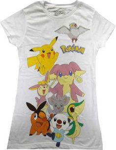 Amazon.com: Pokemon Group Characters Juniors White T-shirt: Clothing