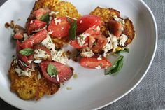 Fresh Corn Cakes with Crab + Tomato Salad. Couldn't I do this with lobster? via Food52