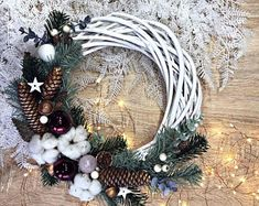 Pine Cone Grapevine Wreath with Evergreens, Cinnamon and Dried Oranges, Rustic Christmas Holiday Decor, 10 Inch : Plastic Christmas Tree, Christmas Swags, Rustic Christmas, Christmas Tree Ornaments, Christmas Balls, Xmas, Handmade Christmas, Christmas Holiday, Wedding Door Wreaths