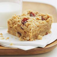 Peanut butter bars...This layered bar cookie has cranberries in the crust and topping. A  perfect Christmas treat.