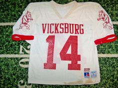 2ff38310b VTG 1990 s Russell Game Used Worn Football Jersey High School College For  Jock Vintage Jerseys