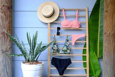 Summer sewing! Oceania bikini pattern stitched in stripes! Top from Celeste bikini pattern & black high waist bottoms stitch from the High waist collective bikini pattern. These bottoms are also used in the Zeta bikini pattern