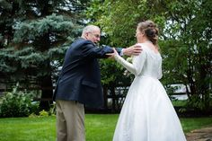 grandpa first look with bride in grandma's wedding dress | Photo by Elliot Malcolm | Planned by Sixpence Events & Planning