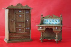 Lovely Ornate Antique Dolls House Tallboy/Highboy & Washstand Germany c 1900 | eBay
