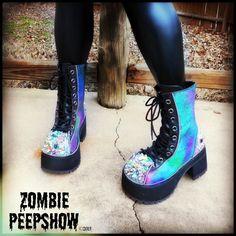 Platform Acid Crystal Boots by kaylastojek on Etsy