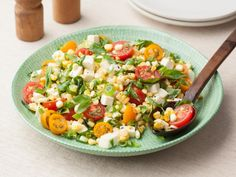 Get Fresh Corn Tomato Salad Recipe from Food Network Use balsamic A mixture of feta and mozzarella A little bit of sweet onion because I had it instead of green. Corn Tomato Salad, Tomato Salad Recipes, Corn Salads, Tomato Basil, Tomato Soup, Salad Dishes, Tomato Pie, Potato Salad, Food Network Recipes