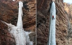 A man climbs a 50-metre-high frozen waterfall in Zhangshi Rock Park, northern China  Picture: Quirky China News / Rex Features