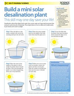 Do-it-yourself science projects: Make your own solar desalination plant Science Fair Projects, Science Activities, Science Experiments, Science Fun, Science Resources, Science Classroom, Survival Prepping, Emergency Preparedness, Survival Skills