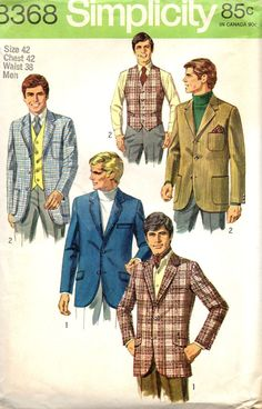 Simplicity 8368 1960s Mens Vest and Shaped Jacket by mbchills, $15.00