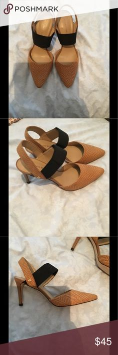 Designer heels, easy to walk in, very comfortable. Tan and black , never worn, very comfortable. Super perfect condition Shoes Heels