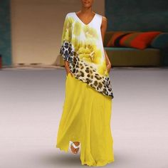 Bohemian Irregular Leopard Splicing Print False Two-Piece Dress Summer Dresses Sale, Polka Dot Summer Dresses, Two Piece Dress, Maxi Dress With Sleeves, Flower Dresses, Chic Outfits, Dress Patterns, Casual Dresses, Loose Dresses