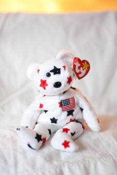 8aaaafb0b55 Glory Beanie Baby Retired Glory the Ty Beanie Baby Bear Patriotic  Collectible USA American Toy Unique