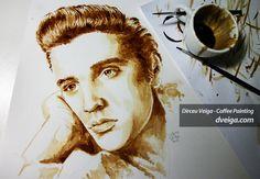 Portrait Elvis Presley painted with coffee