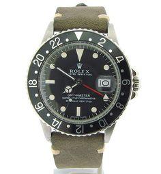 Men's Rolex GMT-Master Stainless Steel Date Watch w/Matte Black Dial ref #1675