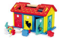 """Deze motoriek school van stevig hout traint meer dan """"alleen"""" de vorm- en kleurherkenning met de 9 steek-elementen! De motoriek wordt ook spelenderwijze geschoold, terwijl de kindervingers de sloten van de 5 deuren alleen meet de passende sleutel openen of sluiten kunnen!De dak helften zijn makkelijk af te nemen voor een nieuwe trainingsdoorloping. Wooden Baby Toys, Roof Panels, Fine Motor Skills, Bunt, Toy Chest, Storage Chest, Christmas, Ideas, Promotional Giveaways"""