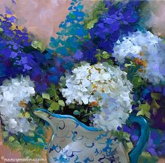 Sun Washed White Hydrangeas was my demonstration for the Richardson Texas Civic Arts Society. We had a full house and a video camera so the artist's palms were sweating just a bit! Fortunately all my awesome flower friends kept me afloat - thanks so much for your love and support! Sun Washed White Hydrangeas, 16X16, oil