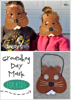Groundhog Day Mask Craft for Kids. Kids will love pretending to be Punxsutawney Phil on Groundhog Day! | From iheartcraftythings.com