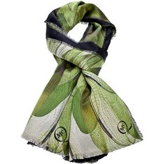 MCQ BY ALEXANDER MCQUEEN contrast dragonfly print scarf ($161) ❤ liked on Polyvore featuring accessories, scarves, green scarves, wrap shawl, green shawl, silk scarves and green silk scarves