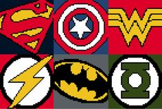 Super Hero Symbols CrossStitch Pattern by GlitchStitchOz on Etsy, $3.00