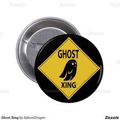 Ghost Xing Button #halloween #ghost #sign #crossing #xing