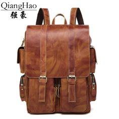 QiangHao brand New Arrival 2017 Male Functional bags Fashion Men backpack 100% Genuine leather backpack big capacity Men bag