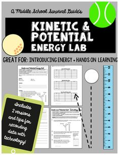 """Kinetic and Potential Energy Lab  The purpose of this """"lab"""" activity is to evaluate kinetic and potential changes in a bouncing tennis ball, golf ball, and ping-pong ball.  About This Activity:The three page lab prompts students to create a hypothesis, follow procedures, record data, answer analysis questions, and write a conclusion.This mini-lab activity is organized for the middle school students to focus on compiling data, applying learned vocabulary(Kinetic Energy & Potential Energ..."""