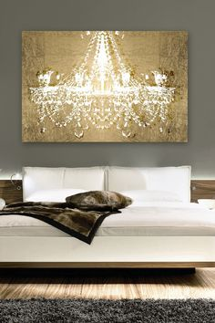 Gold chandelier   canvas art
