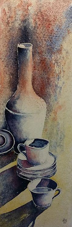 Abstract, Artwork, Painting, Paintings Of Flowers, Wine Cellars, Mesas, Still Life, Tablewares, Watercolour