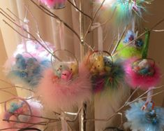 Handmade Easter ornament,easter decor,bunny,chicks,large easter tree ornament,shabby cottage ornament,tree display only
