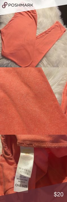 LulaRoe Heathered Coral leggings Like new wore once LuLaRoe Pants Leggings