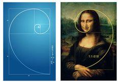 the mathematics of Mona:golden ratio, golden rectangle & golden spiral.  Cuz 1.618 is aesthetically pleasing