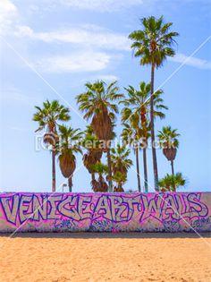 Venice Public Art Walls - Venice Beach, California  #sztuka #uliczna #plaża #palmy #graffiti #farby #kolory #natura #architektura #InteractiveStock