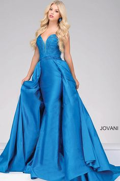 Teal floor length strapless column silk taffeta dress with a sweetheart neckline and an over skirt, available also in cafe, fuchsia, gunmetal, navy, off white, peacock, red, royal, soft pink, white and wine.