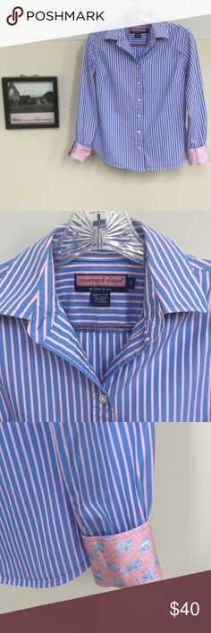 "NEW LISTING! Vineyard Vines striped button down This blue and pink striped button down from Vineyard Vines is so cute! Check out the contrasting fabric on the cuffs and collar. Size 6. Armpit to armpit about 18"". Length from shoulder about 23 1/2"". Vineyard Vines Tops Button Down Shirts"