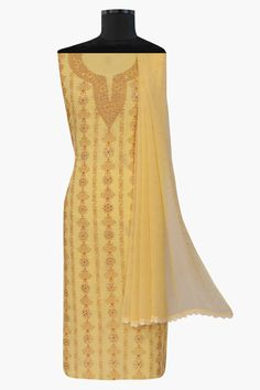 Ada #handembroidered #yellow  #cotton #lucknowi #chikankari  Unstitched Suit Piece- A92846