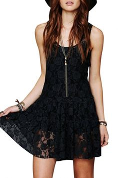 The sleeveless dress is featuring floral lace. It flaunts a slight A-like silhouette. The lining is not included.