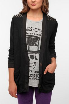 Reverse Studded Cardigan - UrbanOutfitters. Obsessed with their clothes.