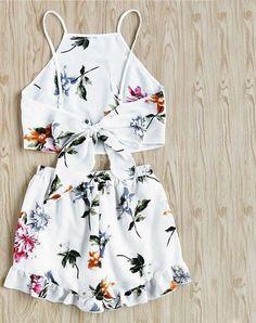High neck tropical floral 2 piece set