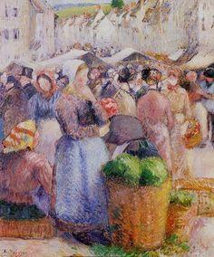 """Camille PISSARRO (1830-1903) - """"Le Marché de Gisors"""" - Oil on canvas, 1885 - Private collection"""