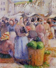 "Camille Pissarro (French, 1830-1903) - ""Le Marché de Gisors"" - Oil on canvas, 1885 - Private collection"